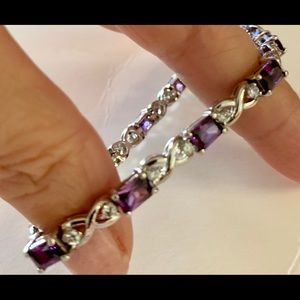 Amethyst and rhinestone bracelet